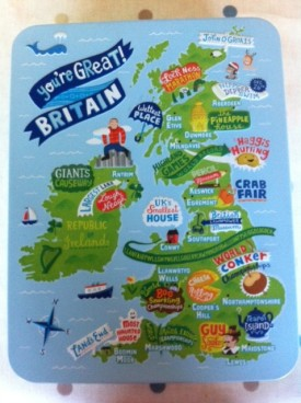 """Great! The M&Sshortbread tin, available throughout the UK depicts Wales as """"World Bogsnorkelling"""""""