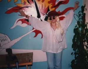 1995 At john's flat in St Vincent Road 60's - 80's party - note the Lichenstein on the wall