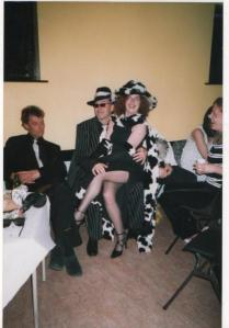 Black & White party - as Cruella De Ville - jhat made from a bamboo steamer, cereal packet and faux fur