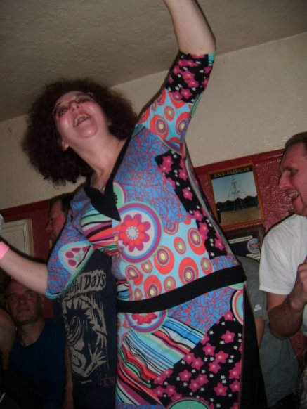 Dancing on the table (again) in The Neuadd Arms - think it was by request on this occasion!