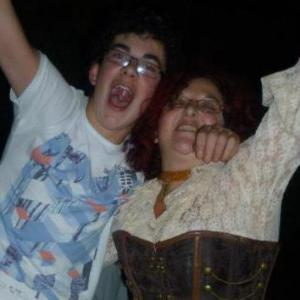 Me & Jason having a 'bop' at our Steampunk party 2012