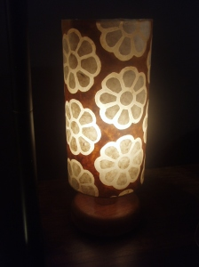 these lovely lamps are made in Anglesey = one of many fabulous embroidered papers they use