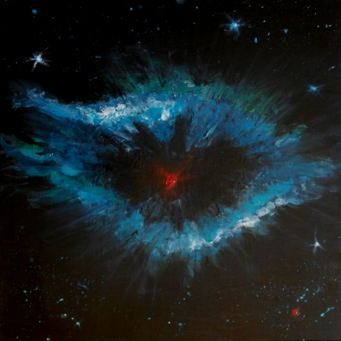 """As we look out from our World the Universe looks back"" - acrylic on wood based on the Helix Nebula, a great 'Cosmic Eye' 700 light years away in Aquarius"