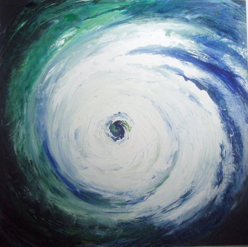 """We Shall Never Tame Nature; It Will Not Surrender To Us"" - acrylic on wood - A hurricane over the Earth"