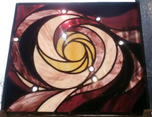 Based on APOD images of Whirlpool Gallaxies - this stained glass window panel was produced for our bathroom as an alternative to obscured glass