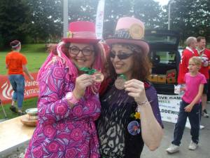me (Lady Lily the Pink ) and Anna-Lisa (The Lord's Drummer's Daughter) happy with our consolation prize medals