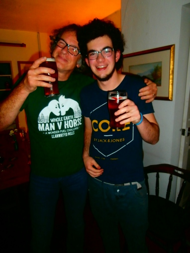 Having a pint with his dad