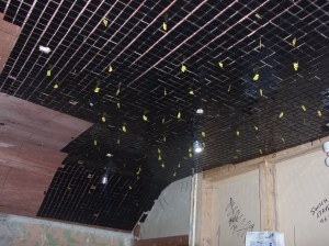 bathroom mosaic and fibre optic ceilingA