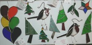 Christmas Stained Glass, Robin, Xmas Trees, Holly, Mistletoe, Stars