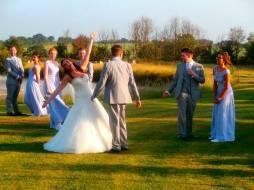 bride groom and entourage