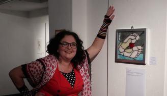 Berni at Internation Womens Festival Exhibition , Brecheiniog Theatre, Brecon, exhibition piece, Stained glass panel