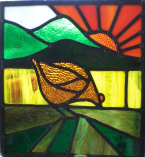 art deco window panel - hen