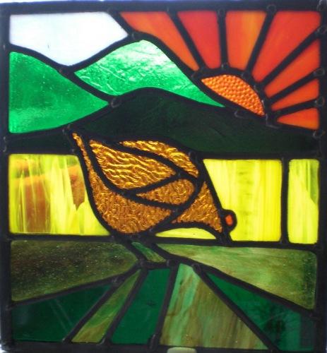 art deco window panel - hen