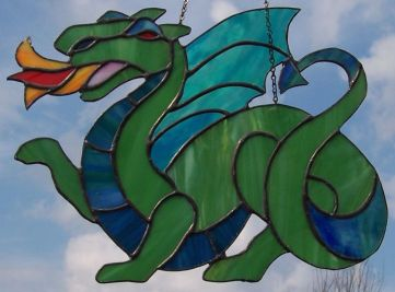 stained glass green dragon