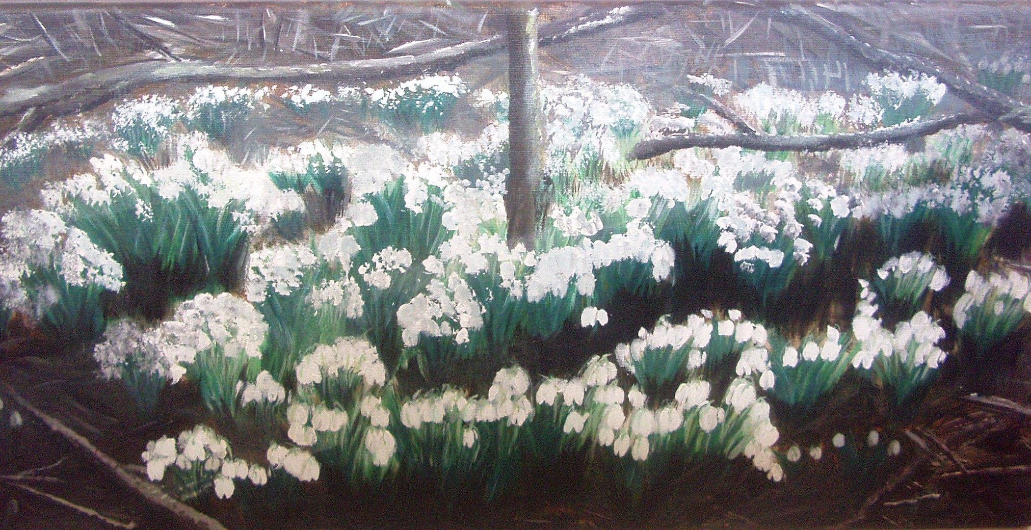 art, painting, snowdrops