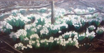 art, painting, snowdrops